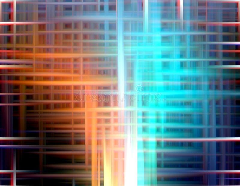 Pomarańczowi błękitni światła, geometrie, abstrakcjonistyczne grafika ilustracja wektor