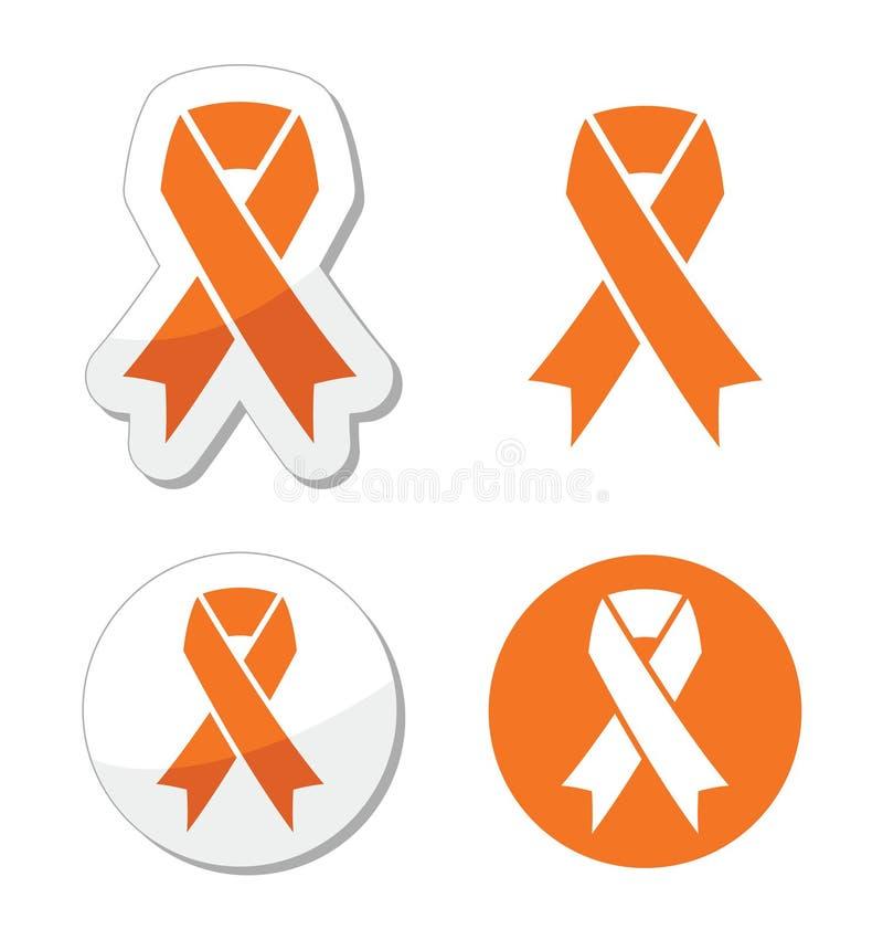 Pomarańczowy faborek - białaczka, głód, humanitarny traktowanie zwierzęta podpisuje ilustracji