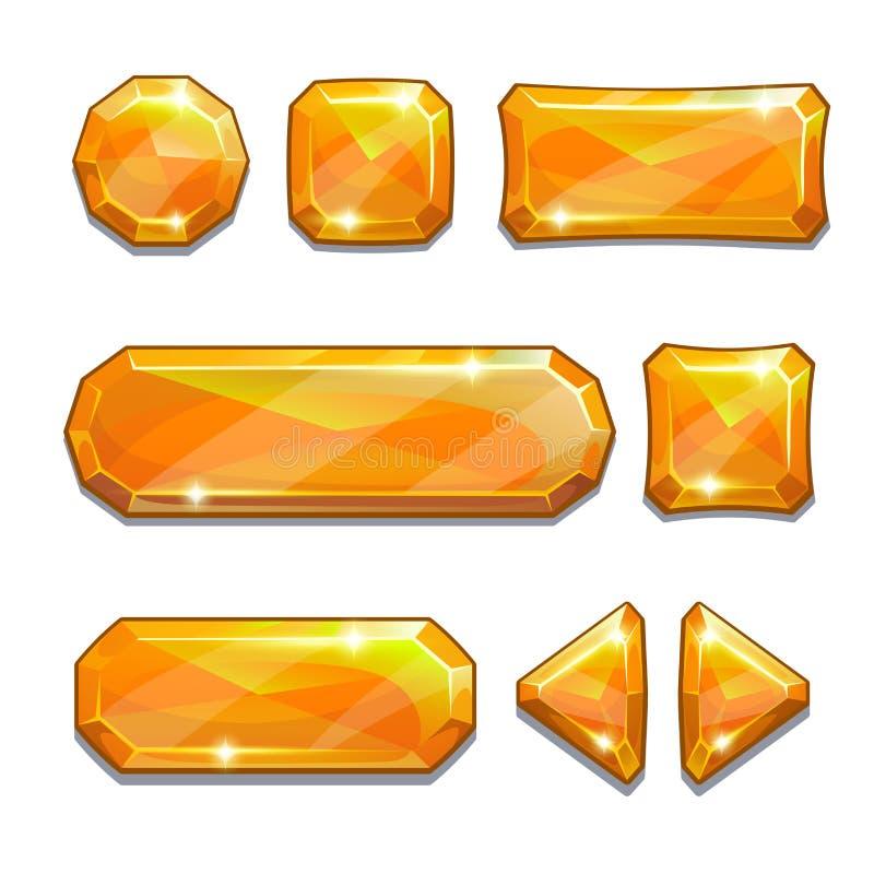 Pomarańczowi kryształów guziki ilustracja wektor