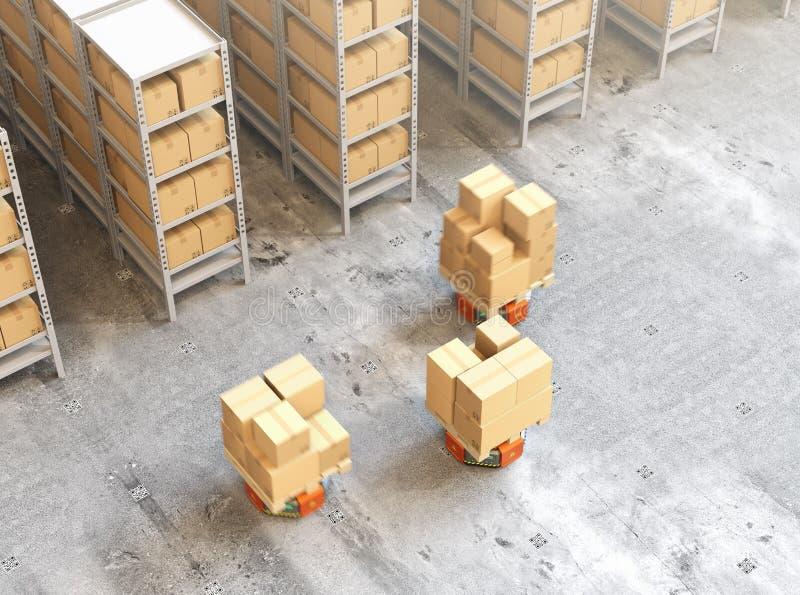 Pomarańczowi robotów przewoźniki niesie barłogi z towarami w nowożytnym magazynie ilustracja wektor