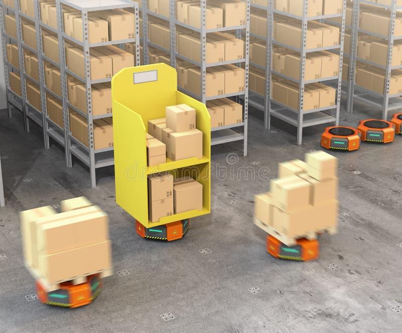 Pomarańczowi robotów przewoźniki niesie towary w nowożytnym magazynie ilustracji