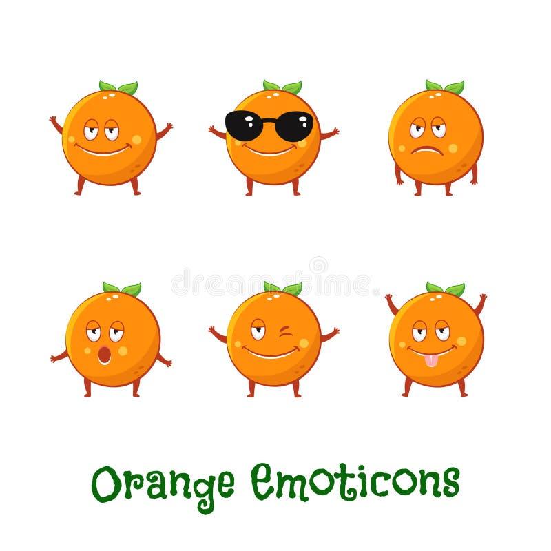 Pomarańczowi uśmiechy Śliczni kreskówek emoticons Emoji ikony ilustracji