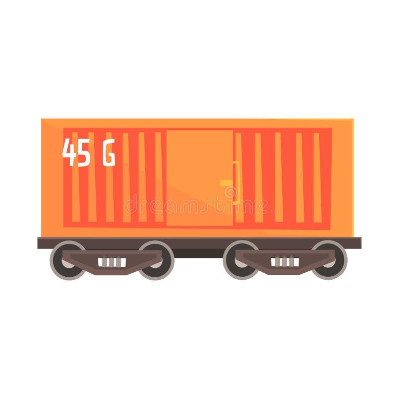 Pomarańczowy ładunku furgon Kolorowa kreskówki ilustracja royalty ilustracja