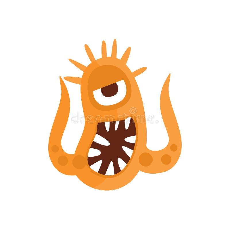 Pomarańczowy Agresywny Zły bakteria potwór Z Ostrymi zębami I Dwa czułków kreskówki wektoru ilustracją ilustracja wektor
