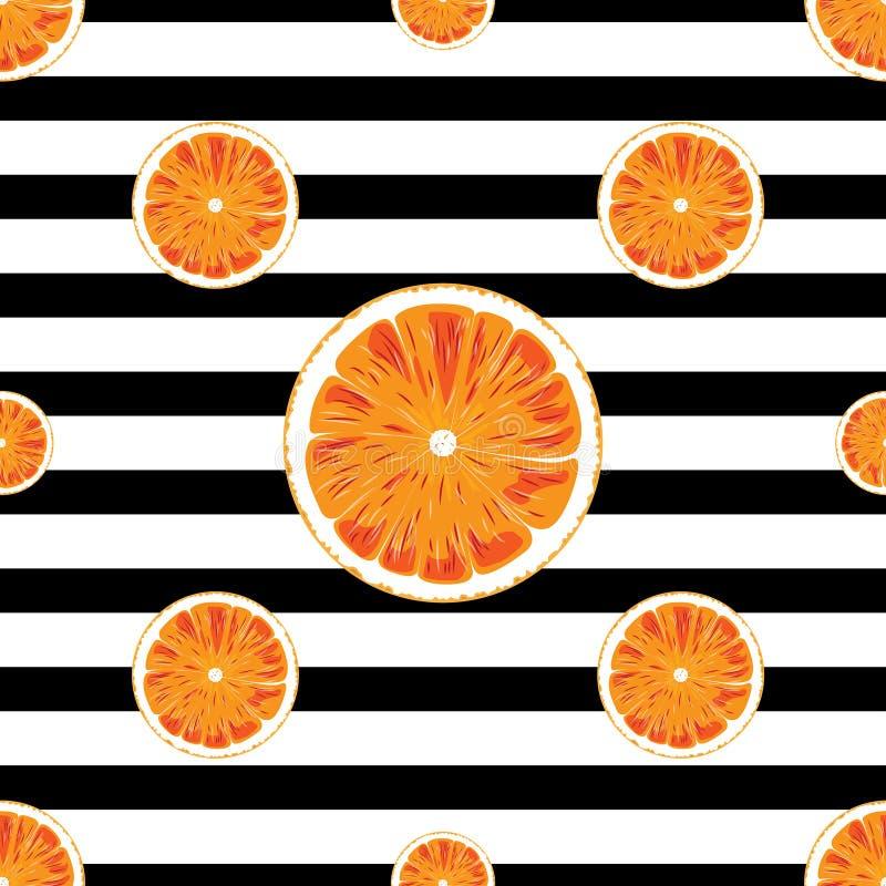 Pomarańczowy bezszwowy wzór i Paskujący czarny i biały tło fotografia stock