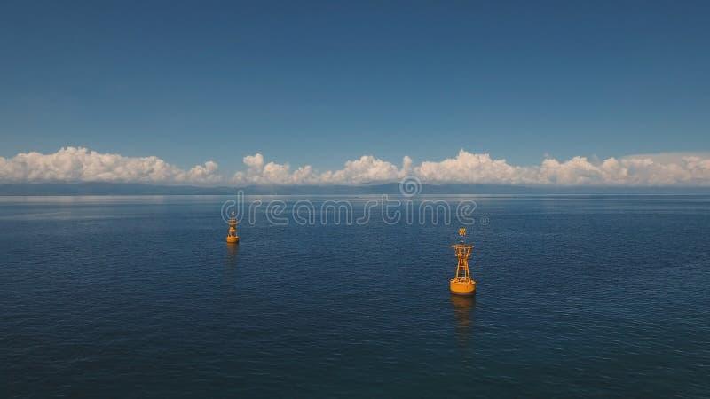 Pomarańczowy boja w morzu fotografia royalty free