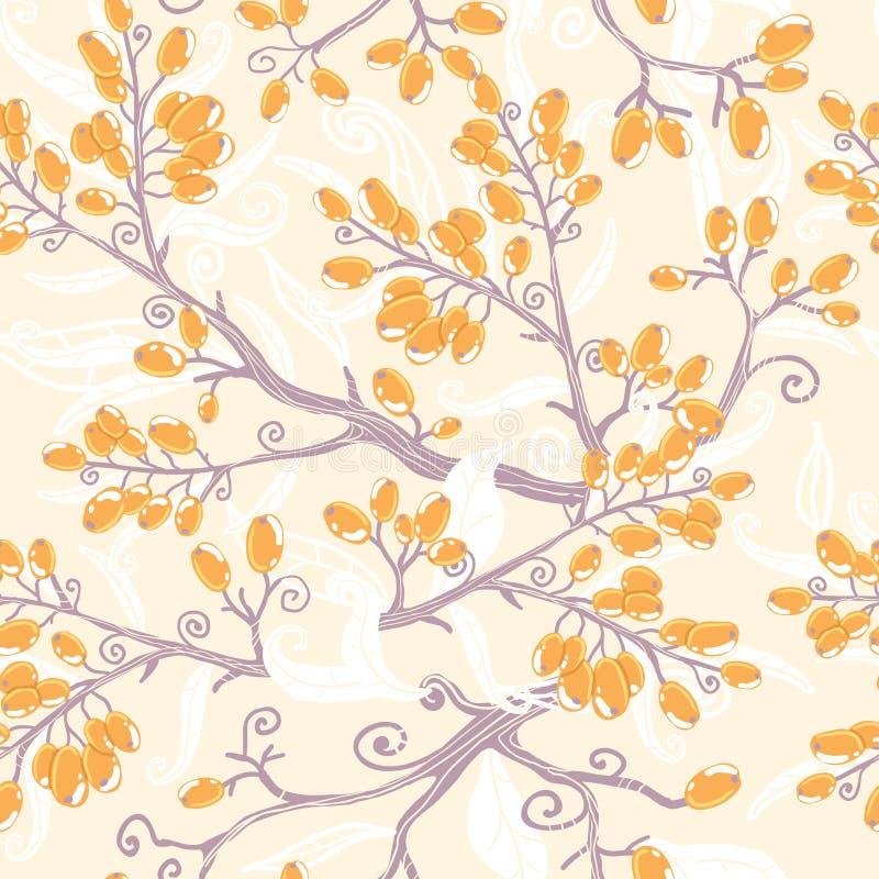 Pomarańczowy buckthorn jagod bezszwowy wzór ilustracji
