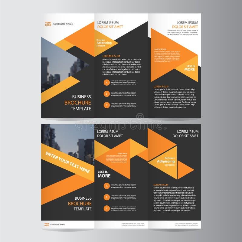 Pomarańczowy czarny trifold ulotki broszurki ulotki szablonu projekt, książkowej pokrywy układu projekt, Abstrakcjonistyczni błęk royalty ilustracja