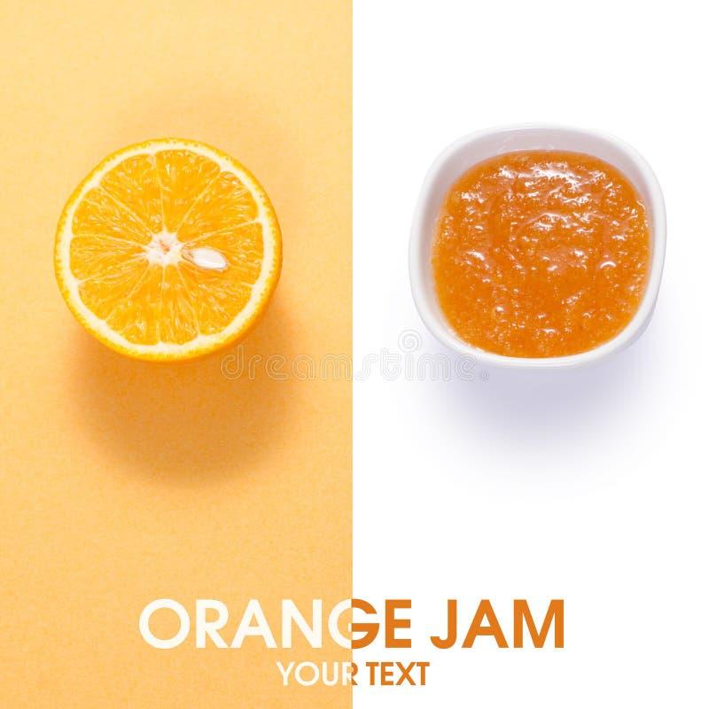 Pomarańczowy dżem w białym pucharze z pomarańczową owoc obraz stock