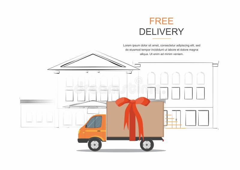 Pomarańczowy doręczeniowy samochód dostawczy z czerwonym faborkiem na miasta tle i Produkt wysyłki towarowy transport Darmowy ser royalty ilustracja