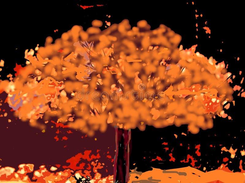 Pomarańczowy drzewo, Mroczny zmierzchu pokój! ilustracja wektor