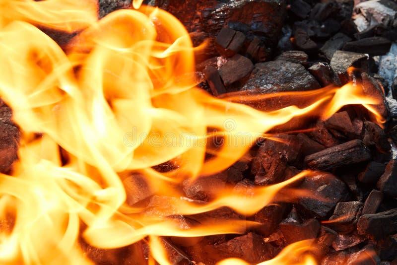 Pomarańczowy dziki ogień na czerń węglu przygotowywał dla grilla grilla obrazy royalty free