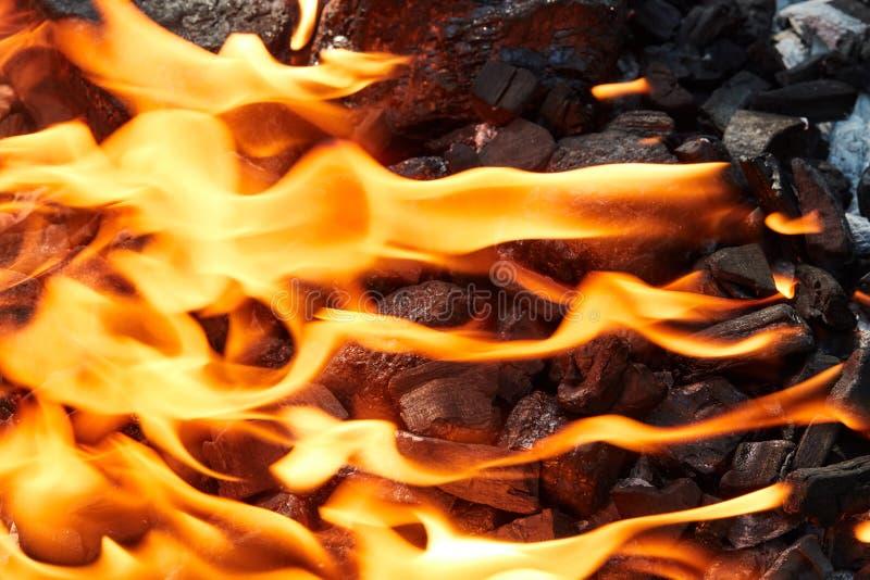 Pomarańczowy dziki ogień na czerń węglu przygotowywał dla grilla grilla fotografia royalty free