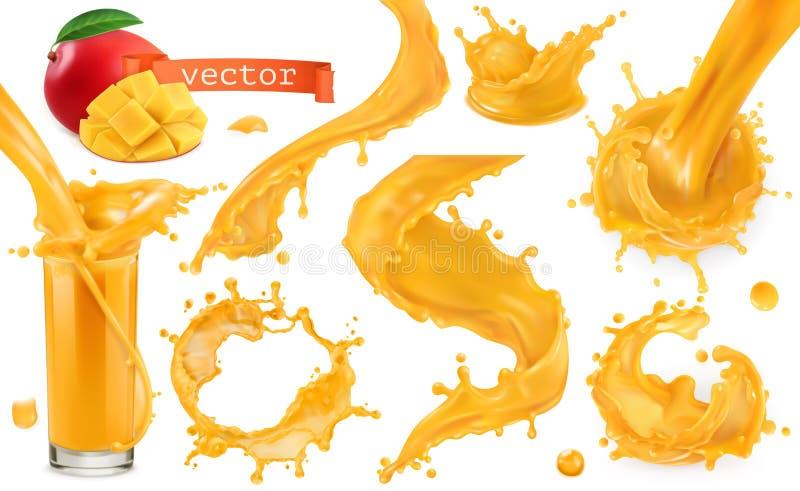 Pomarańczowy farby pluśnięcie Mango, ananas, melonowa sok kartonowe koloru ikony ustawiać oznaczają wektor trzy ilustracji