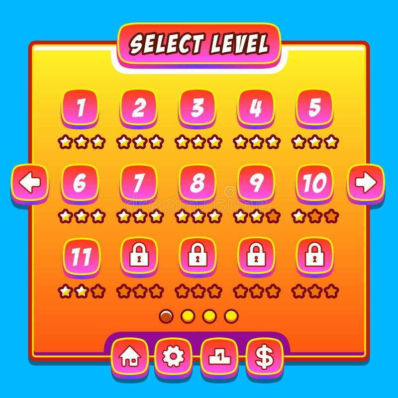 Pomarańczowy gemowy menu pozioma interfejs kasetonuje ui guziki ilustracji