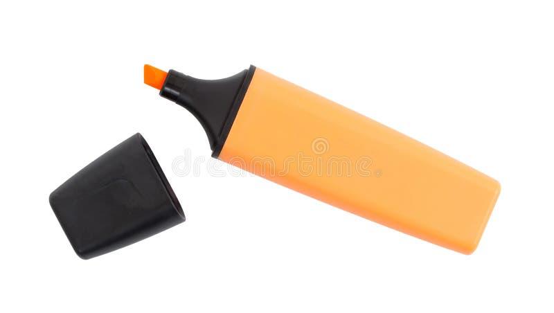 Pomarańczowy highlighter odizolowywający zdjęcia stock