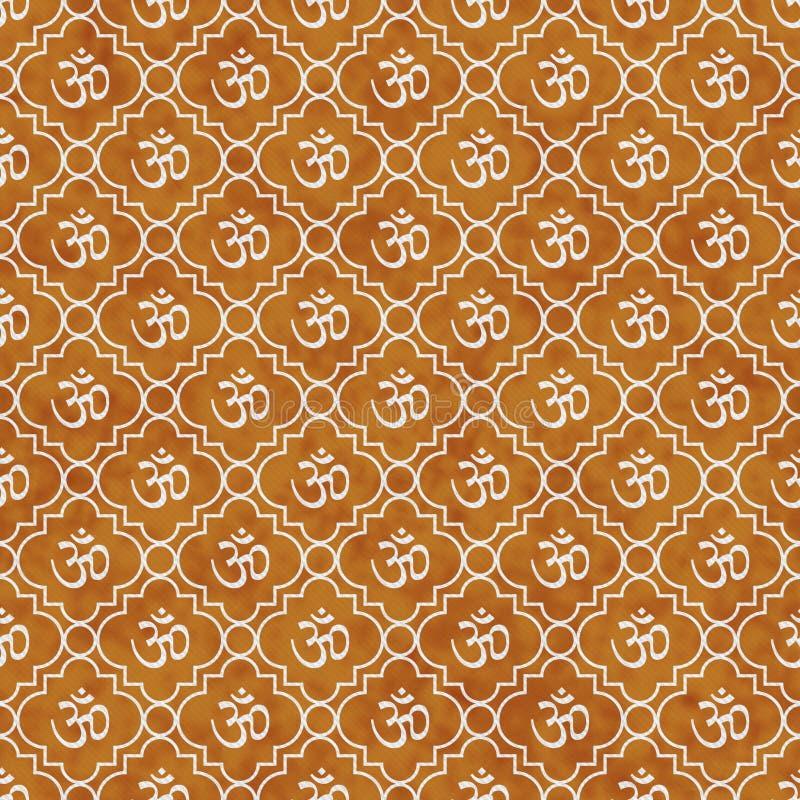 Pomarańczowy i Biały Aum symbolu płytki wzoru powtórki Hinduski tło ilustracja wektor