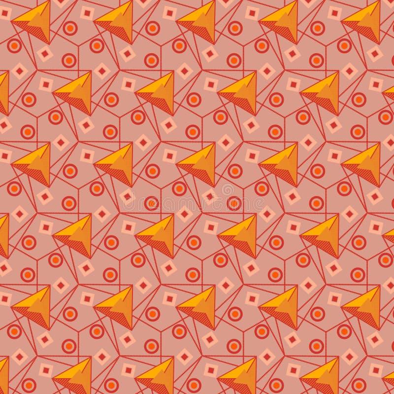 Pomarańczowy i brudno- czerwony nowożytny geometryczny bezszwowy wzór ilustracja wektor