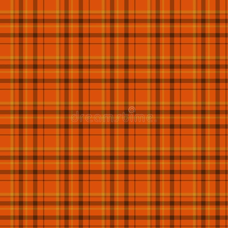 Pomarańczowy i Czarny szkockiej kraty tkaniny tło ilustracji
