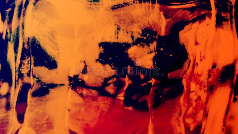 Pomarańczowy i niebieski abstrakcyjny projekt farby o barwie czerwonej fotografia stock