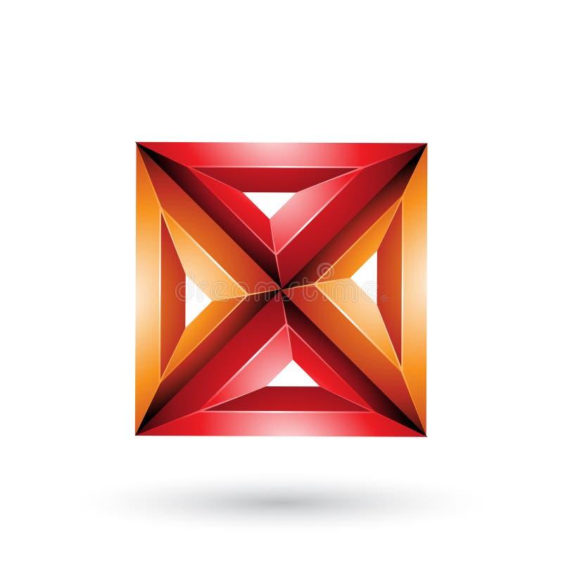 Pomarańczowy i rewolucjonistka 3d trójboka X Geometrical Embossed i kwadrata kształt odizolowywający na Białym tle royalty ilustracja