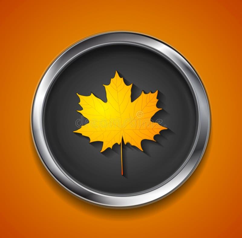 Pomarańczowy jesień liść klonowy na metalu guziku ilustracja wektor
