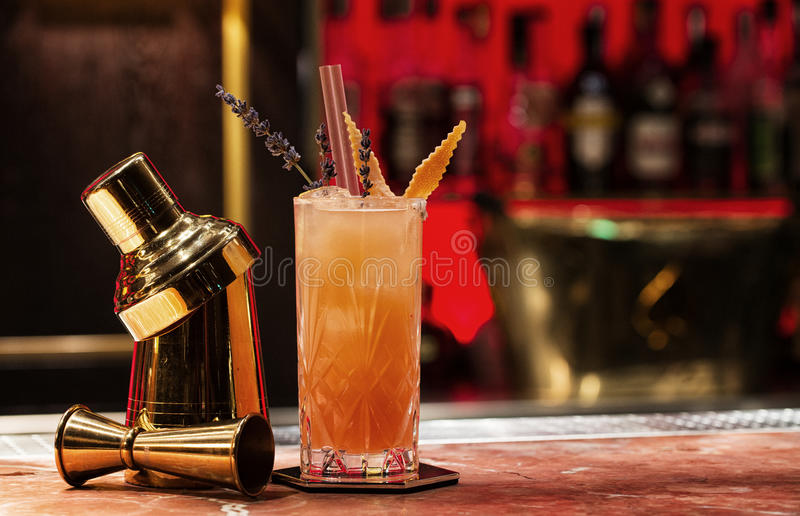 Pomarańczowy koktajl z garnirunkiem obraz stock