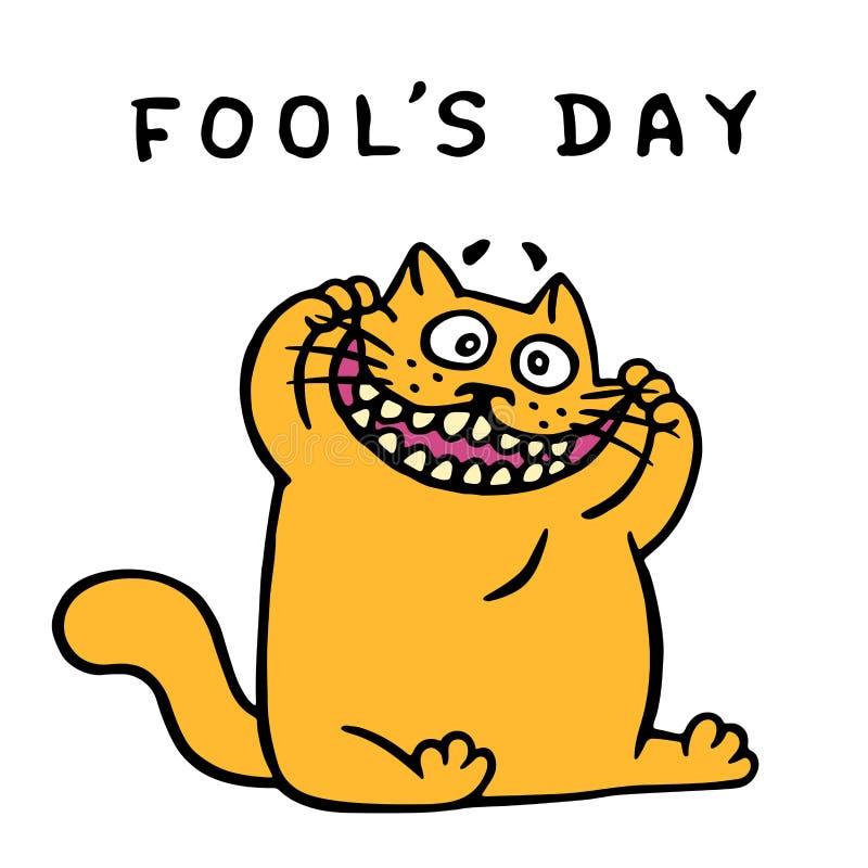 Pomarańczowy kot robi śmiesznej twarzy Kwietnia wakacje również zwrócić corel ilustracji wektora royalty ilustracja