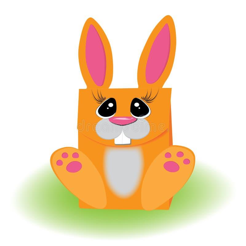 Pomarańczowy królik Pakować prezent trawy zdjęcie stock