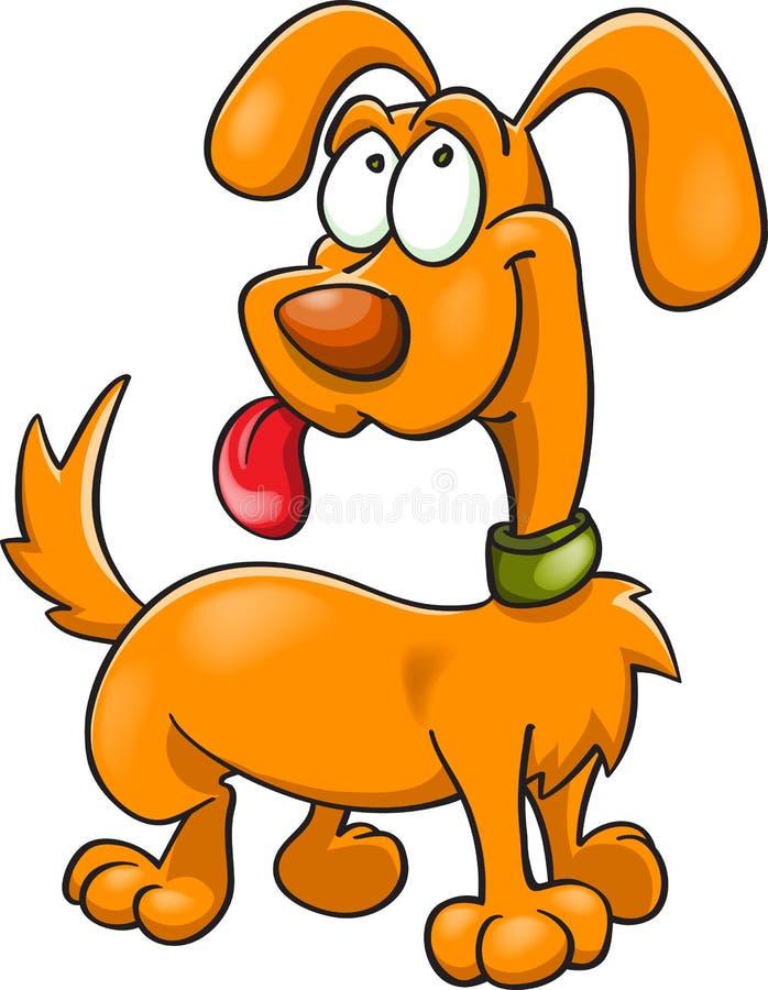 Pomarańczowy kreskówka pies w zielonym kołnierzu ilustracja wektor