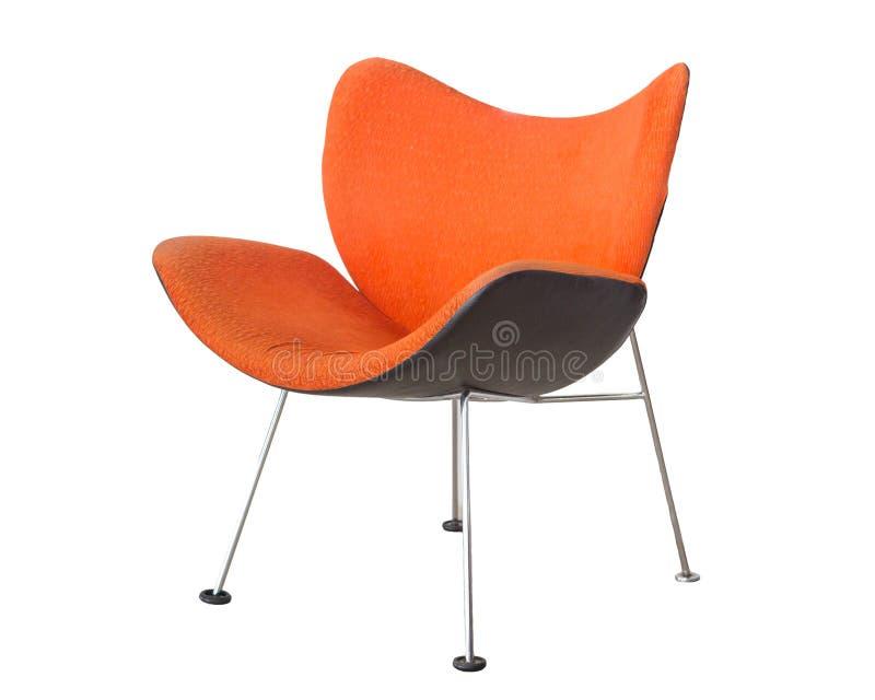 Pomarańczowy krzesło odizolowywający na białym tle zdjęcia stock