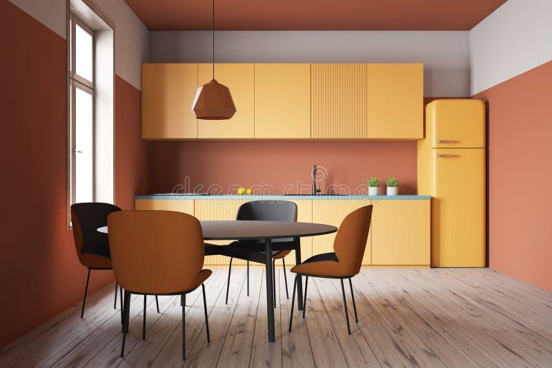 Pomarańczowy kuchenny wnętrze z kontuarami i stołem ilustracji