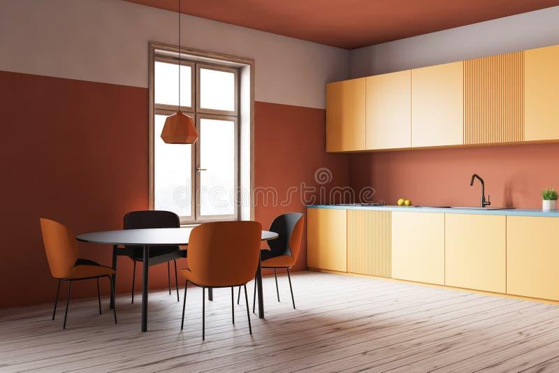 Pomarańczowy kuchnia kąt, kolorów żółtych kontuary i stół, ilustracji