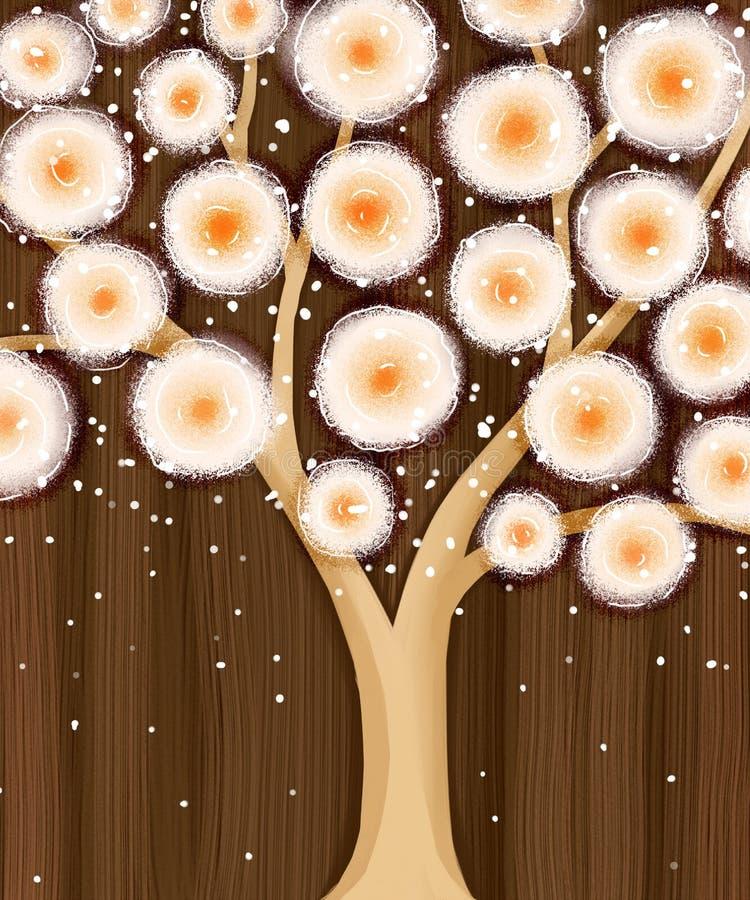 Pomarańczowy kwitnący drzewo na brązie obrazy royalty free