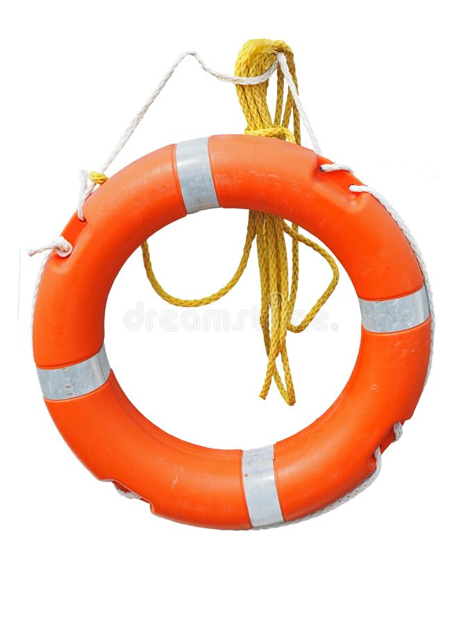 Pomarańczowy lifebelt lub życia preserver z żółtą arkaną odizolowywającą na bielu obrazy royalty free