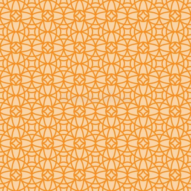 Pomarańczowy liniowy arabski ornamentacyjny wzór royalty ilustracja