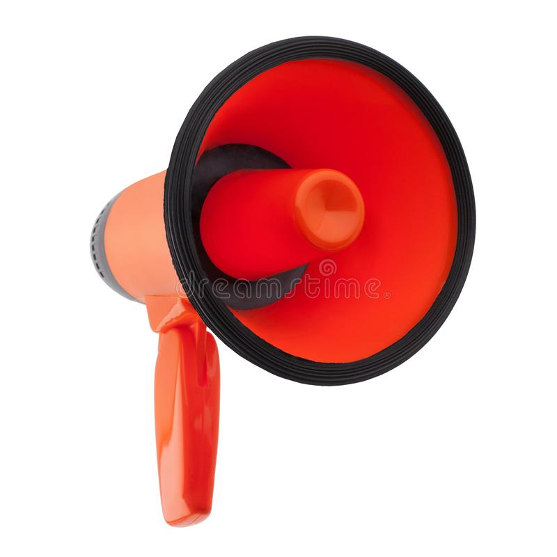 Pomarańczowy megafon na biały tło odizolowywającym zakończeniu w górę, ręka głośnika projekcie, czerwonym loudhailer lub obcojęzy obrazy stock