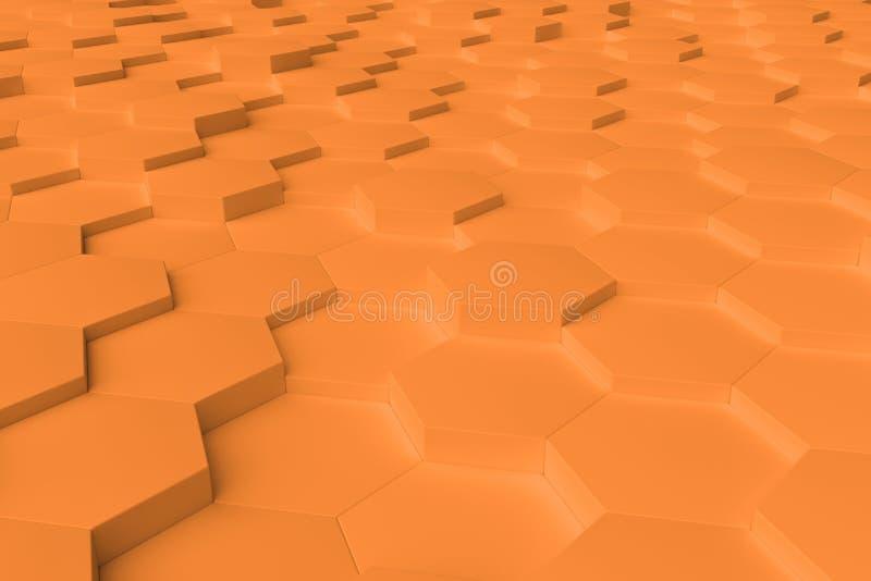 Pomarańczowy monochromatyczny sześciokąt tafluje abstrakcjonistycznego tło zdjęcie stock