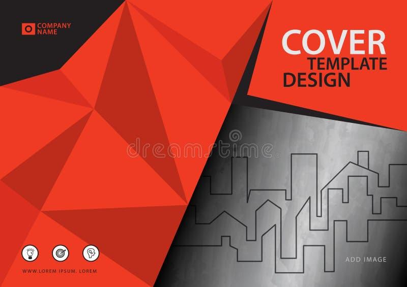 Pomarańczowy okładkowy szablon dla biznesowego przemysłu, Real Estate, budynek, dom, maszyneria, inny Poligonalny tło ilustracji