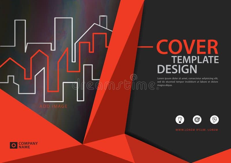 Pomarańczowy okładkowy szablon dla biznesowego przemysłu, Real Estate, budynek, dom, maszyneria, inny Poligonalny tło royalty ilustracja