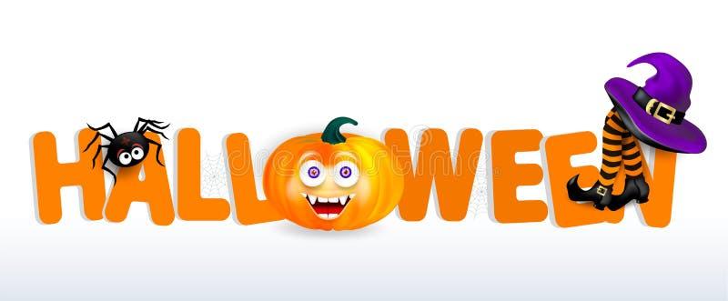 Pomarańczowy pisze list Halloween z banią z szczęśliwą twarzą, pająkiem, purpurowym czarownica kapeluszem i nogami z pasiastymi p ilustracji