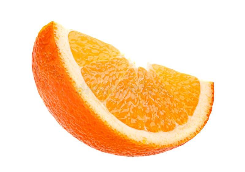 Pomarańczowy plasterek na bielu obraz stock