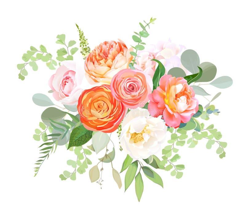 Pomarańczowy ranunculus, menchii róża, biała hortensja, juliet róża, ogród kwitnie ilustracja wektor