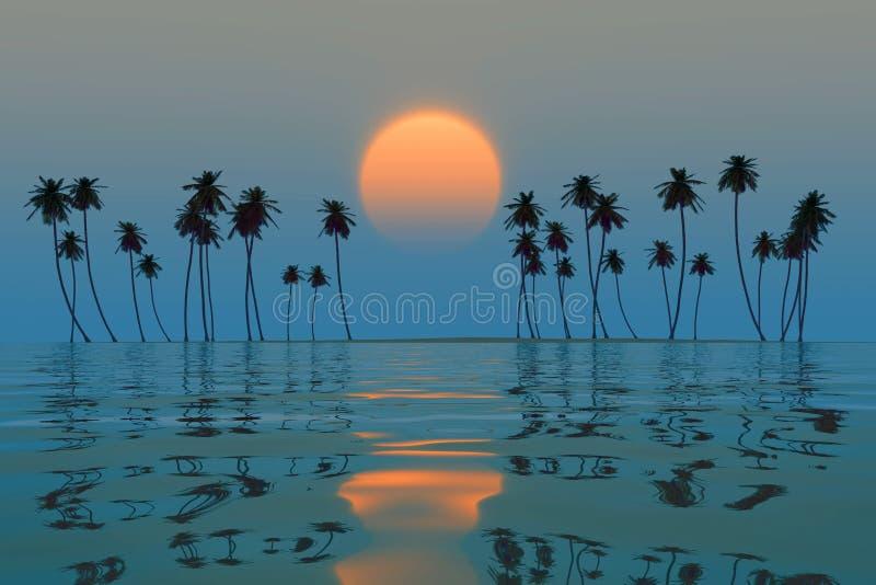 Pomarańczowy słońce nad wyspą ilustracji