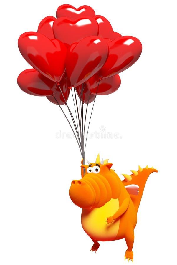 Pomarańczowy smok i balony - czerwoni serca ilustracji