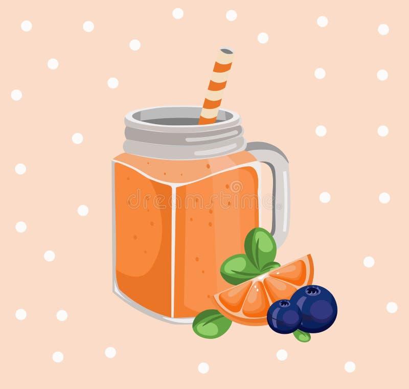 Pomarańczowy smoothie wektor Świeżego napoju retro stylowy tło royalty ilustracja