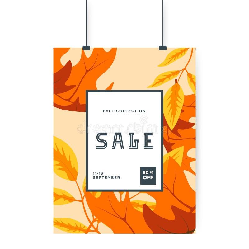 Pomarańczowy spada jesień liści tło 50% sprzedaży sztandaru szablonu projekt Du?ej sprzeda?y specjalna oferta Oferta specjalna sz ilustracja wektor
