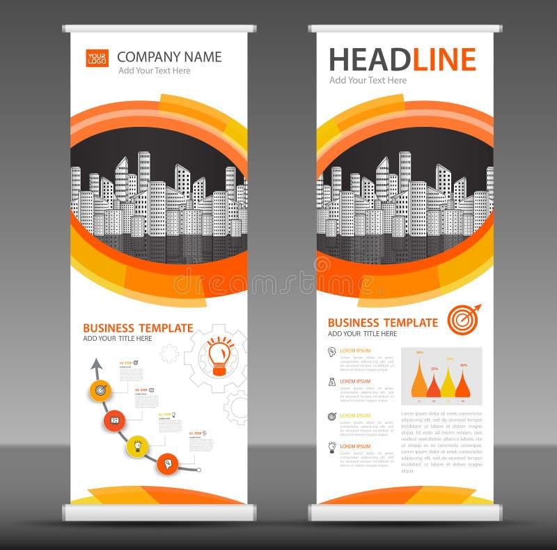 Pomarańczowy Stacza się up sztandaru szablonu statywowego projekt, biznesowa broszurki ulotka royalty ilustracja