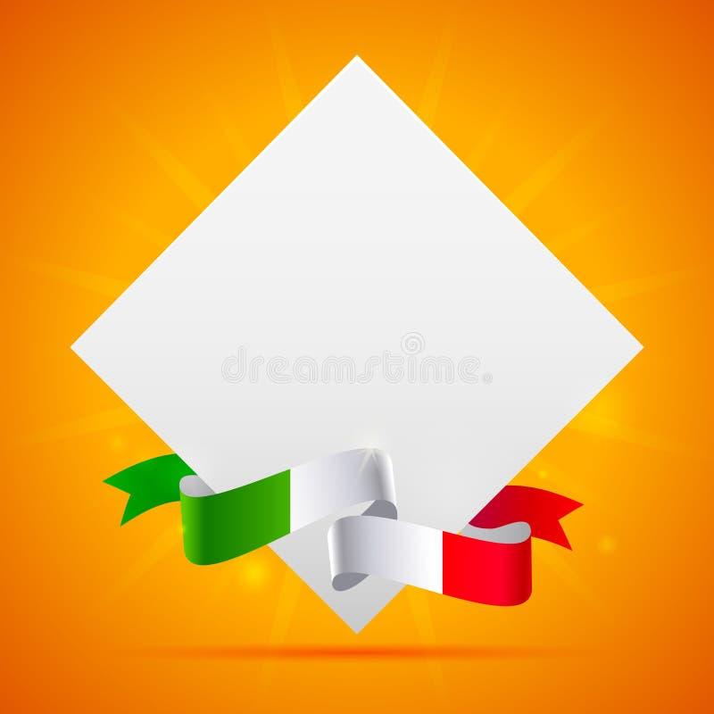 Pomarańczowy tło z włoch flaga i prześcieradłem papier ilustracja wektor