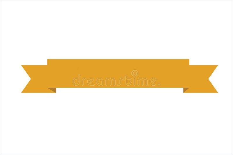 Pomarańczowy Tasiemkowy sztandar dla strony internetowej, logo lub kartek z pozdrowieniami, ilustracji